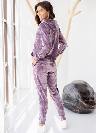 Велюровый костюм: худи с карманом кенгуру + штаны