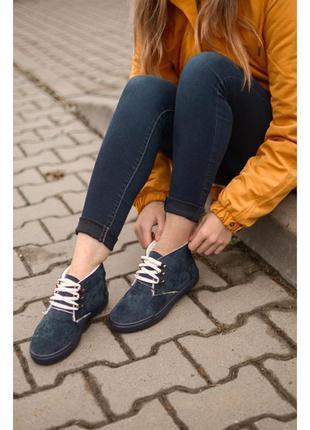 Женские зимние ботинки на меху еврозима синие