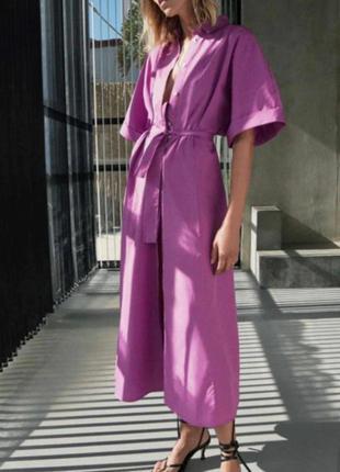 Сиреневое платье рубашка из поплина от zara новая коллекция