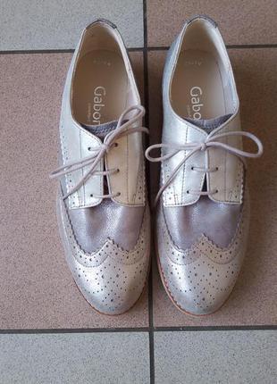 Кожаные серебристые туфли gabor