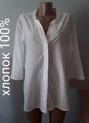 Стильная хлопковая блузка большого размера