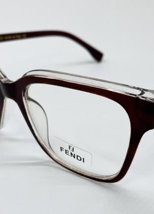 Женские очки компьютерные имиджевые коричневые оправа под замену линз