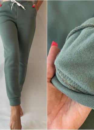 Теплые спортивные штаны трехнить на флисе