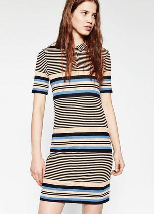Платье рубашка в полоску zara