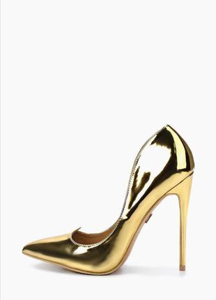 Новые золотистые туфли лодочки на шпильке туфли на высоком каблуке 36  лаковая кожа