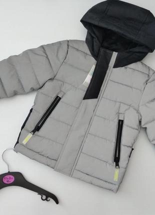 Светоотражающая водоотталкивающая куртка для мальчика primark демисезон 92см серая 1,5-2 года