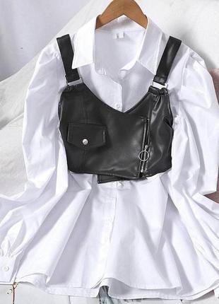 Платье с чёрным топом из эко-кожи