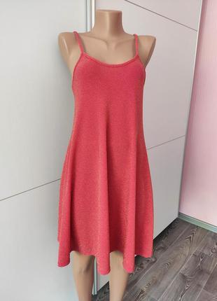 Платье на бретелях розовое с люрексовой золотой нитью расклешенное atmosphere 38