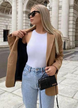 Пиджак коричневый с карманами, блейзер zara