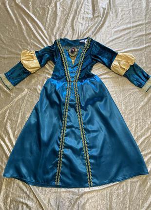 Бархатное карнавальное платье карнавальный костюм принцессы мериды на 5-7 лет