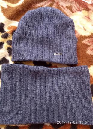 Комплект зимний шапка снуд хомут