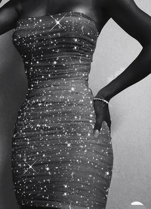 Тренд 2022 року шикарне міні чорне плаття з нової колекції zara з блиском!!!