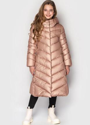 Зимний пуховик пальто для девочки тм cvetcov келли размеры 128-158