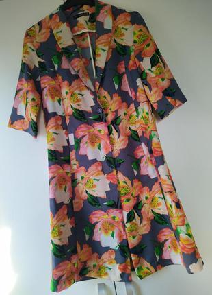 Подовжена накидка тренч / подовжений піджак жакет з квітковим принтом
