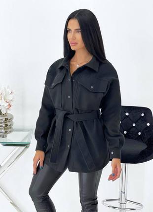 Черное рубашка-пальто