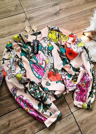 Блуза на запах boohoo в цветочный принт