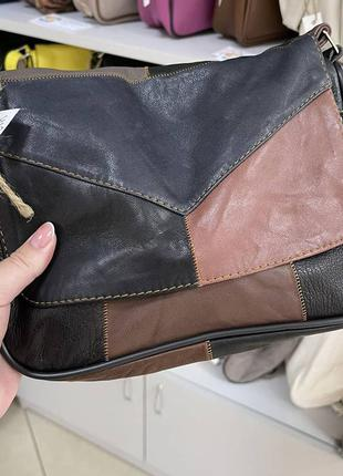 Кожаная женская сумочка сумка разноцветная темная с кучочков разноцветной кожи