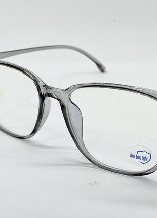 Очки для имиджа и работы за компьютером легкие серые прозрачная оправа