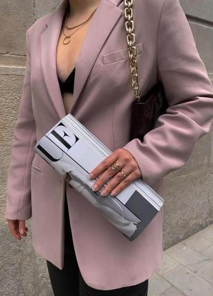 Пиджак бледно-розовый с карманами, пыльно-розовый блейзер zara