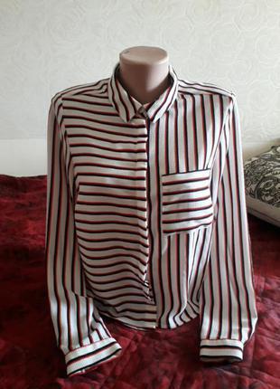 Идеальная укороченная блуза блузка рубашка в полоску