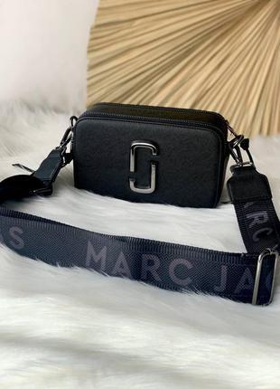 Marc jacobs black/silver женская черная стильная брендовая сумочка с ремешком тренд жіноча маленька чорна модна сумка