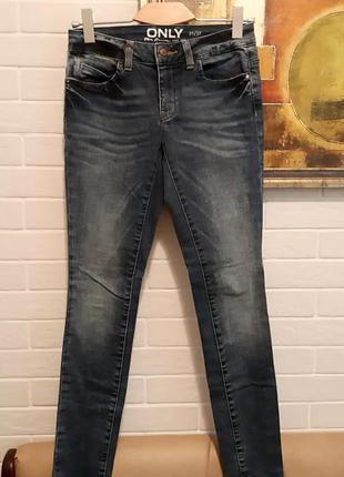 Синие зауженные джинсы скини р.м only оригинал