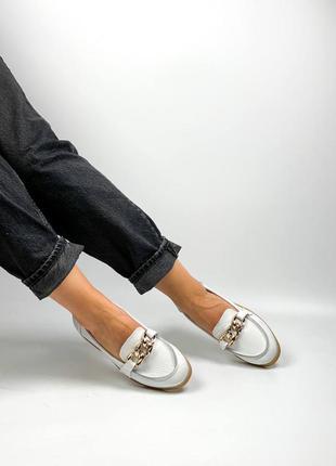 Балетки лоферы натуральная кожа белые женские туфли