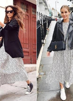Zara платье белое в чёрный горошек zara тренд вирусное платье zara