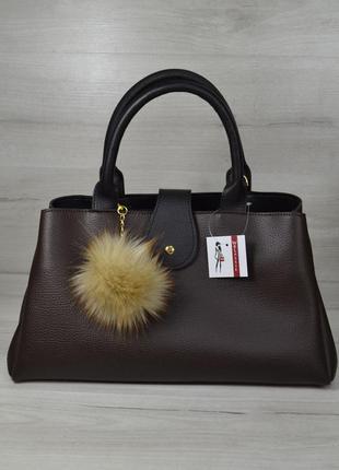 Коричневая большая сумка саквояж на плечо модная деловая женская сумочка три отделения с пушком
