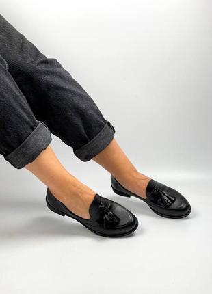 Туфли лоферы натуральная кожа чёрные женские балетки
