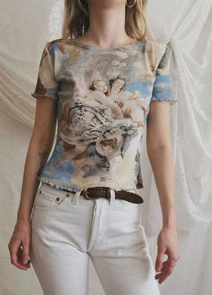 Винтажная футболка в сетку с ангелами