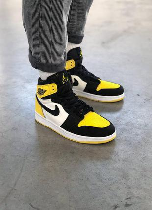 Кроссовки nike air jordan 1 high yellow black