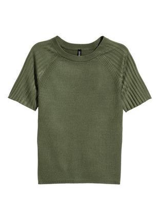 Кофта топ футболка в рубчик стильная h&m