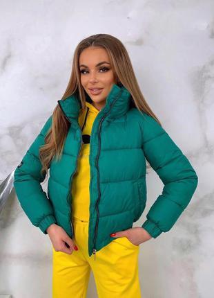 Женская тёплая короткая матовая куртка
