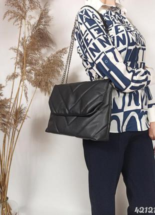 Чёрная стёганая сумочка на цепочке, чорна стібана сумка на ланцюжку