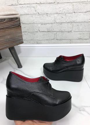 35-41 рр туфли, ботильоны, ботинки на танкетке шнурки натуральная замша/кожа