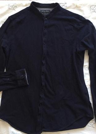 Темно синяя мужская рубашка zara