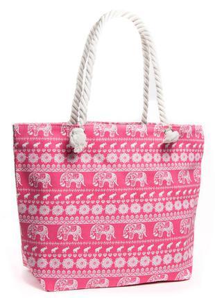Летняя женская текстильная пляжная сумка на пляж шоппер