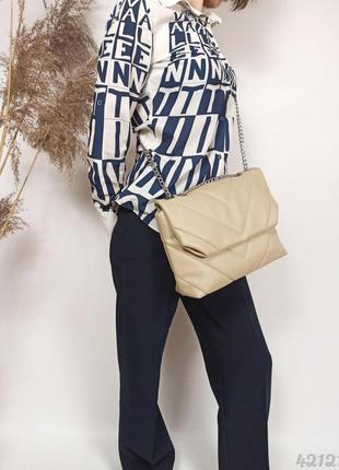 Бежевая стёганая сумочка на цепочке, бежева стібана сумка на ланцюжку