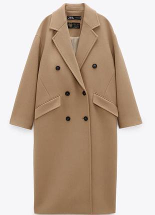 Шикарное шерстяное  пальто zara xs,s