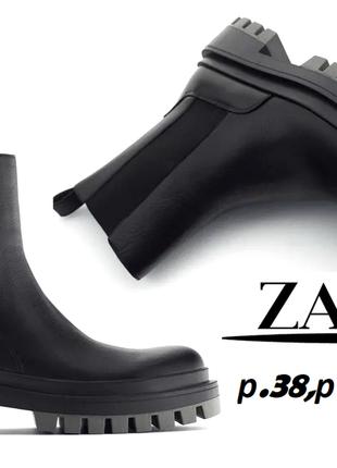 Zara  ботинки черные челси сапоги натуральная кожа