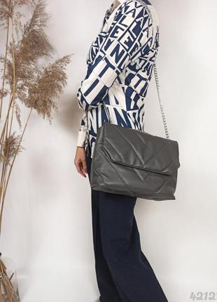 Темно сіра стібана сумка на ланцюжку, темно-серая стёганая сумочка на цепочке
