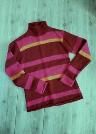 L.o.g.g свитер с горлом шерсть полоска бордовая/розовая/оранжевая,44-46  размер