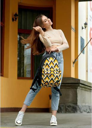 Якісний та стильний жіночий рюкзак⭐ жовтий з орнаментом супер вмісткий , матова екошкіра