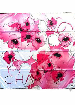 Шелковый атласный платок шелк белый розовый ручной роуль новый качественный