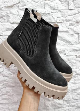 36-41 рр деми/зима ботинки на высокой платформе натуральная кожа/замша
