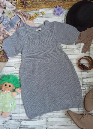 Вязаное теплое серое платье туника marks and spencer