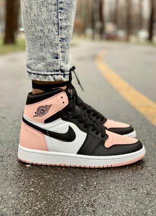 Женские кожаные кроссовки nike air jordan 1 retro pink розового цвета