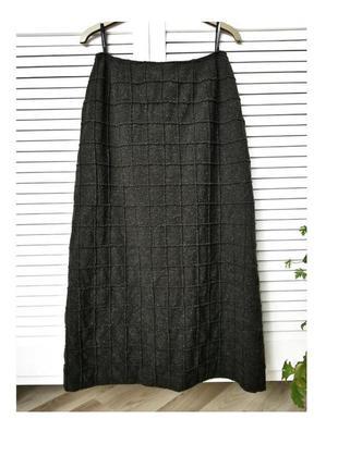 Дорогая дизайнерская шерстяная юбка миди теплая юбка зеленая юбка женская