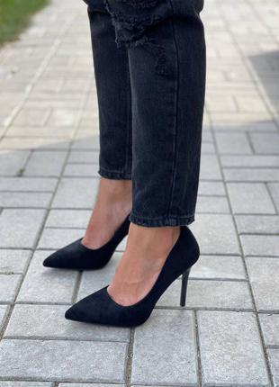 Туфли лодочки эко замша каблук 10 см